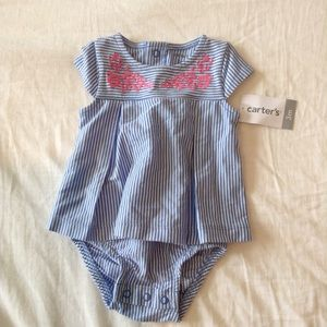 Carters Blue white striped sundress 3 months